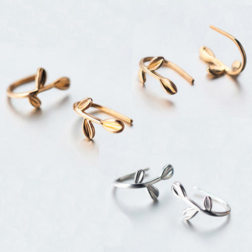 Women's Solid 925 Sterling Silver Ear Stud Earrings Gold Twig Leaf Jewelry Gift