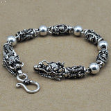 "Real 925 Sterling Silver Bracelet Link Chain Dragon Bead Men's 7.1"" - 9.4"""