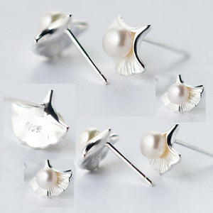 Women 925 Sterling Silver Ear Stud Earrings Ginkgo Leaf Freshwater Pearl Jewelry