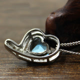 Natural Blue Topaz Solid 925 Sterling Silver Pendant Necklace Heart Zircon 18""
