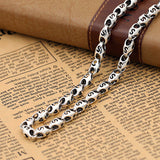 "Real Solid 925 Sterling Thai Silver Hollow Heart Knot Chain Men Necklace18""-26"""