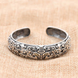 Men's Real 925 Sterling Silver Cuff Bracelet Mythical Animal Gluttony Jewelry