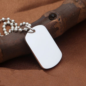Polished Solid 999 Sterling Thai Pure Silver Pendant Dog Tag ID Engraveable