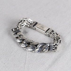 Men's Real Solid 925 Sterling Silver Bracelet Om Mani Padme Hum Braided Link 8.3""