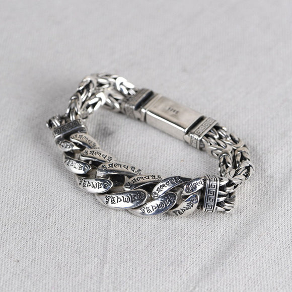 Men's Real Solid 925 Sterling Silver Bracelet Om Mani Padme Hum Braided Link 8.3