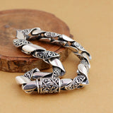 Men's Real Solid 925 Sterling Silver Bracelets Link Carved Flower Chain Jewelry