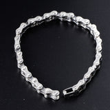 Mens Real Solid 925 Sterling Silver Bracelets Link Chain Rectangle Polished 8.3""