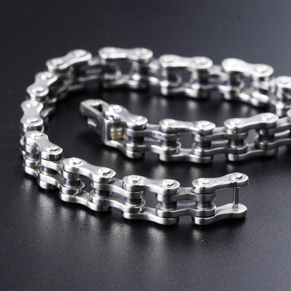 Mens Real Solid 925 Sterling Silver Bracelets Link Chain Rectangle Polished 8.3