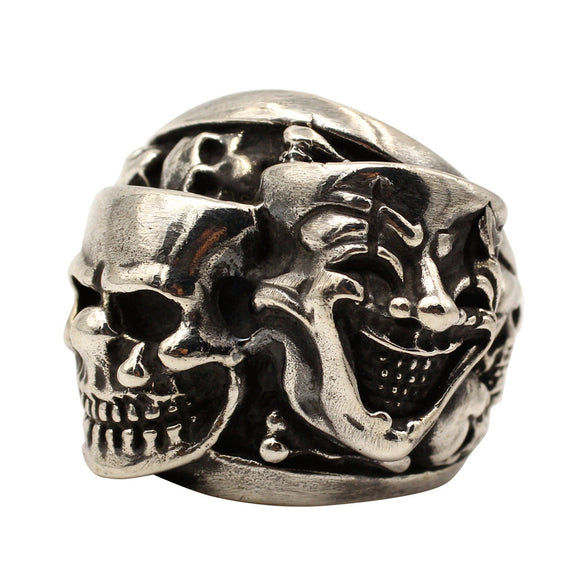 Men's Punk Real 925 Sterling Silver Ring Double Ghost Skull Clown Size 7-11