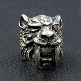 Men's Heavy Punk Real 925 Sterling Silver Ring Leopard Tiger Fangs Size 8-11