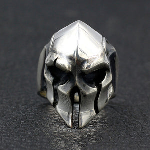 Men's Real 925 Sterling Silver Ring Mask Spartan Warrior Jewelry Size 8 9 10 11