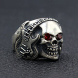 Men's Punk Real 925 Sterling Silver Ring Skull Guitar Rock Headset Size 8-11