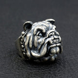 Men's Huge Punk Real 925 Sterling Silver Ring Animal Dog Bulldog Size 8 9 10 11