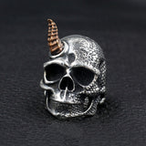 Men's Huge Punk Real 925 Sterling Silver Ring Scaly Horn Skull Size 7-11