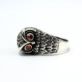 Men's Real 925 Sterling Silver Red Gemstone Ring Animal Owl Jewelry Size 7-11