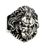 Men's Punk Real 925 Sterling Silver Ring  Animal Lion King Leo Jewelry Size 7-11