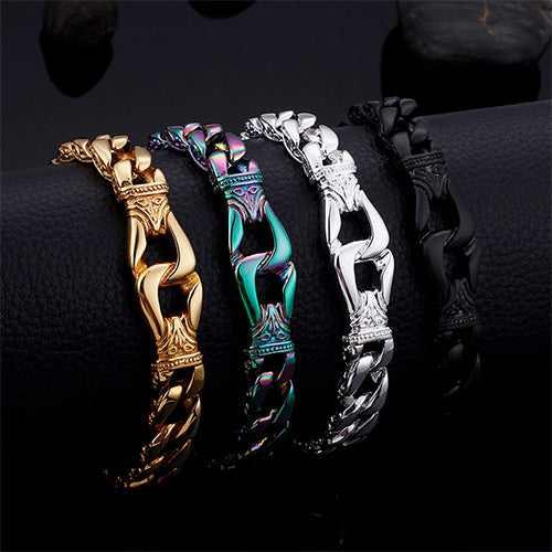 Men 316L Stainless Steel Bracelet Link Punk Braided Fashion Retro 8.9