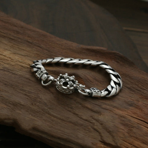 Real 925 Sterling Silver Bracelet Braided Twist Crown Horsewhip Men's