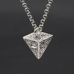 Real 925 Sterling Silver Pendant Pyramid Dragon White-Tiger Suzaku Basalt