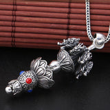 Real 925 Sterling Silver Pendant Dragon Lotus flower Vajra