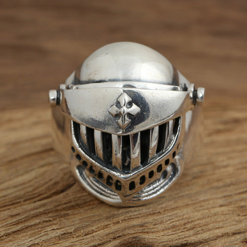 Men's 925 Sterling Solid Thai Silver Ring Knight Armet Cross Size 8 9 10