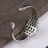Real Solid 925 Sterling Silver Cuff Bracelet Dapeng Carving Dragon Scales Skull