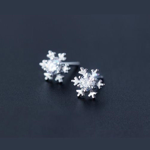 Women's925 Sterling Silver Ear Stud Earrings Zircon Snow White Blue Pink Jewelry