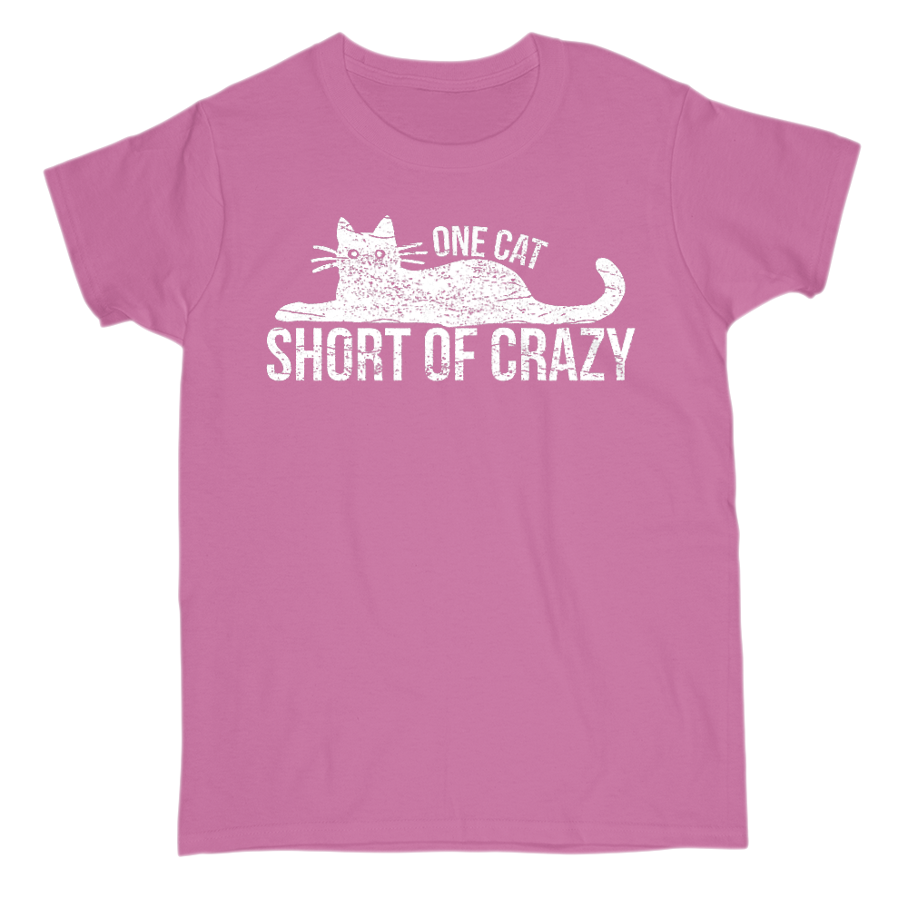 One Cat Short Of Crazy Short Sleeve Crew Neck T-Shirt