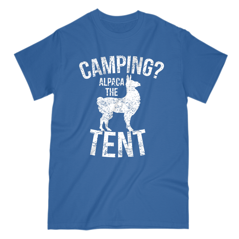 Camping Alpaca The Tent Mens Short Sleeve Crew Neck T-Shirt S / Royal Blue