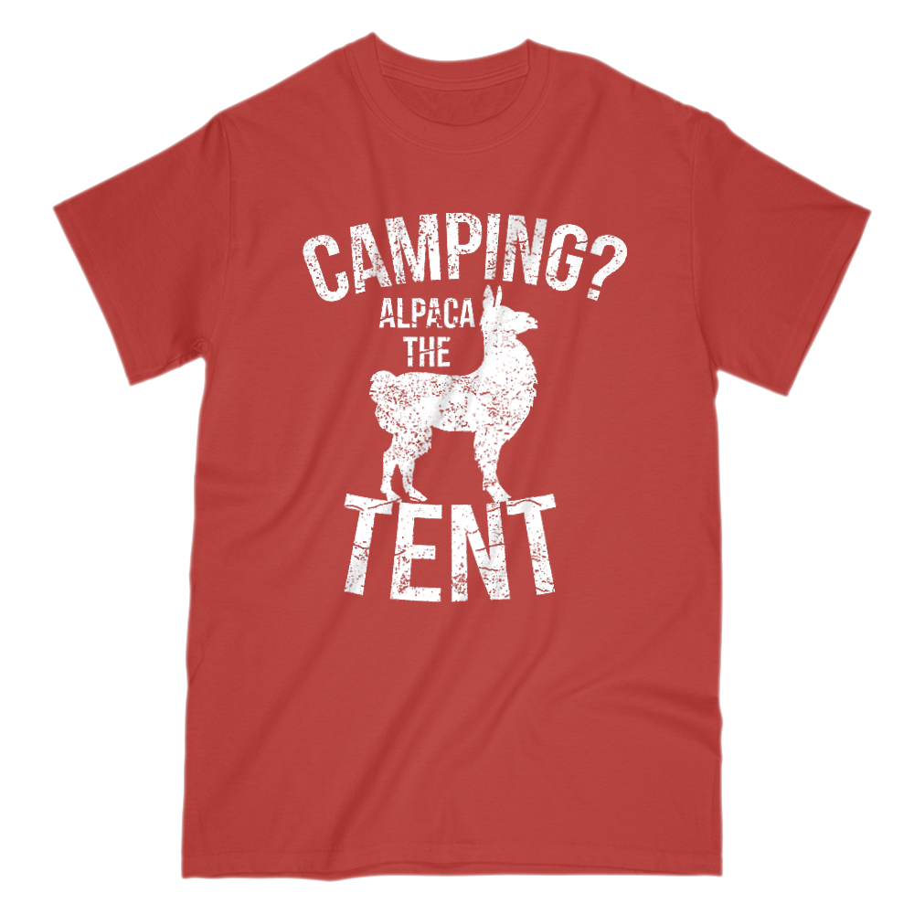 Camping Alpaca The Tent Mens Short Sleeve Crew Neck T-Shirt S / Red