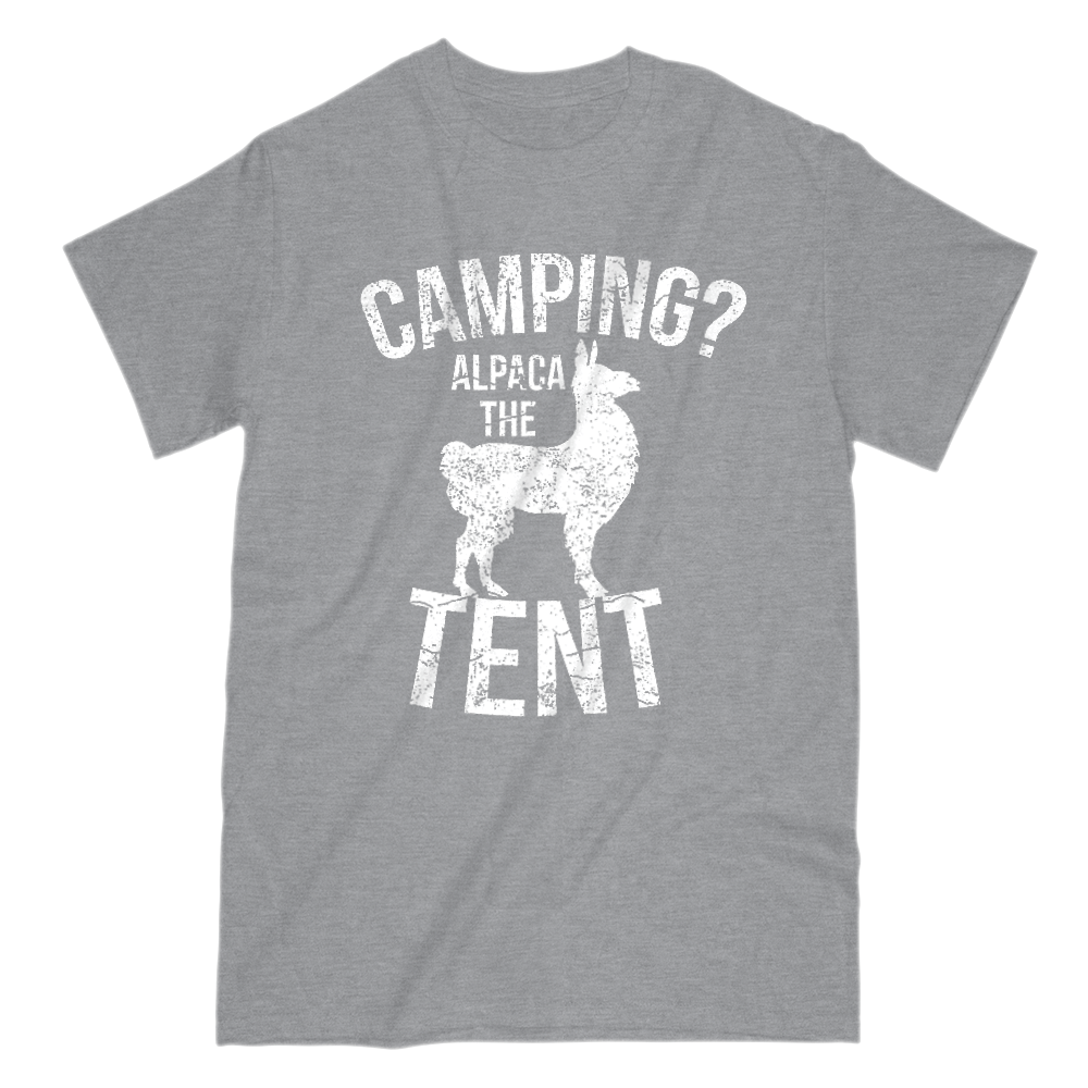 Camping Alpaca The Tent Mens Short Sleeve Crew Neck T-Shirt S / Light Gray
