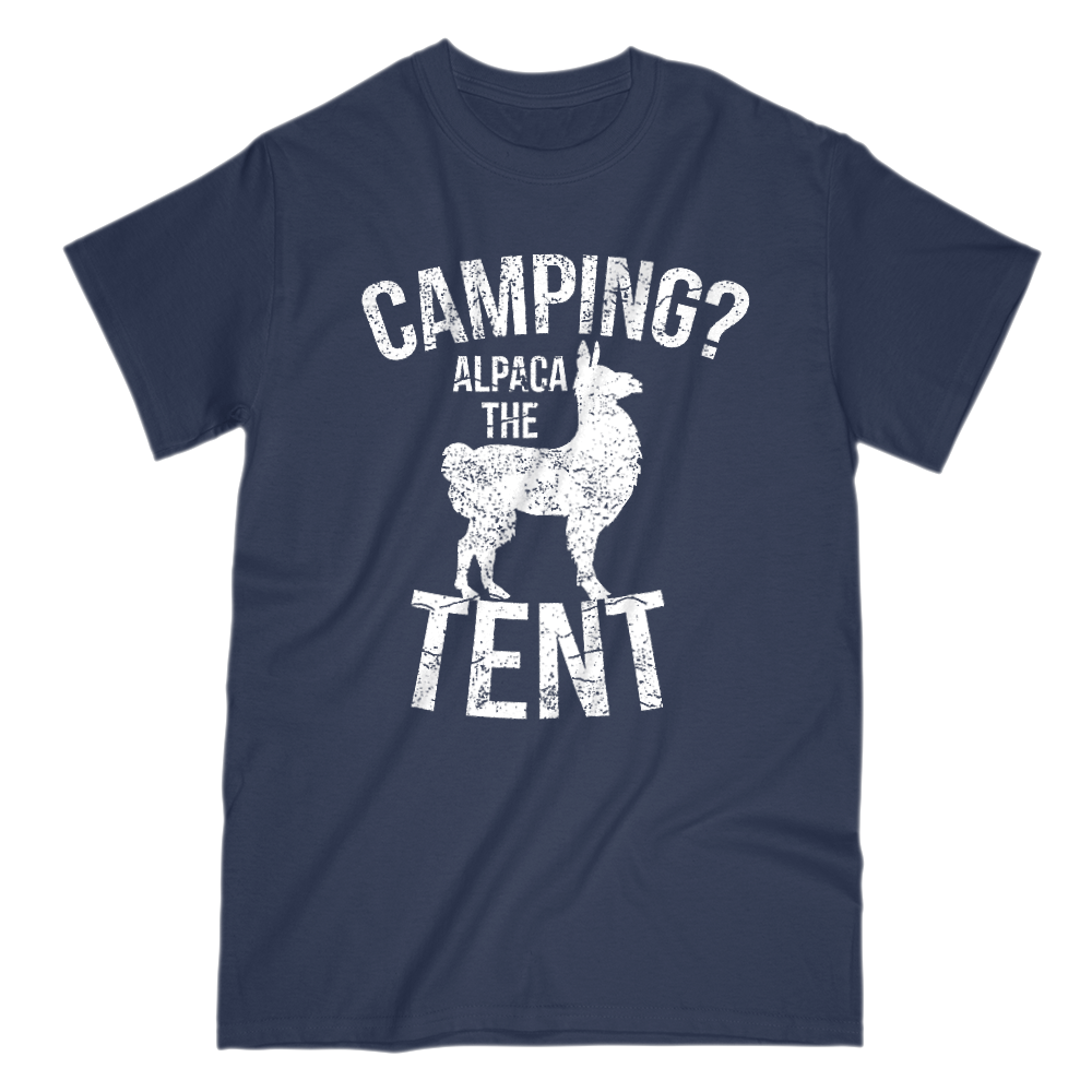 Camping Alpaca The Tent Mens Short Sleeve Crew Neck T-Shirt S / Navy
