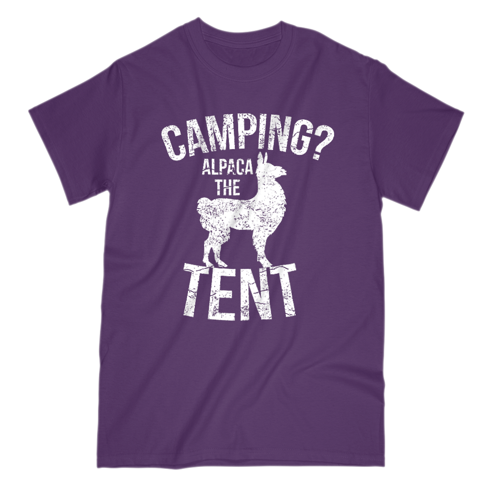 Camping Alpaca The Tent Mens Short Sleeve Crew Neck T-Shirt S / Purple