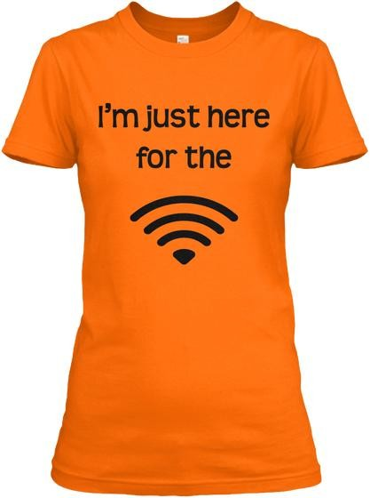 Semi-Slim Fit I'm Just Here For The Wifi Crew Neck T-Shirt Orange / S Regular Tee