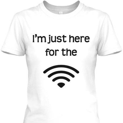 Semi-Slim Fit I'm Just Here For The Wifi Crew Neck T-Shirt White / S Regular Tee