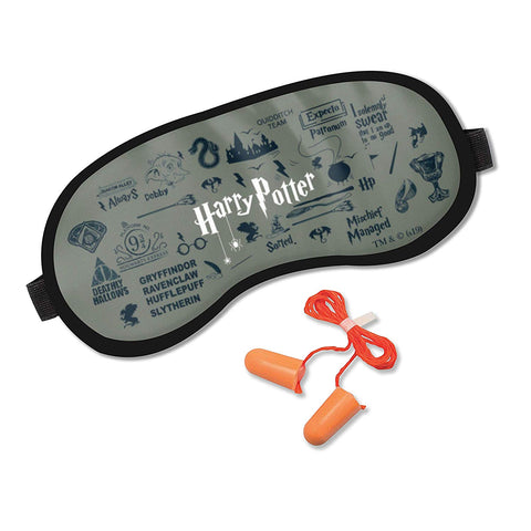 Harry Potter Grey Infographic Eye Mask with Ear Plugs
