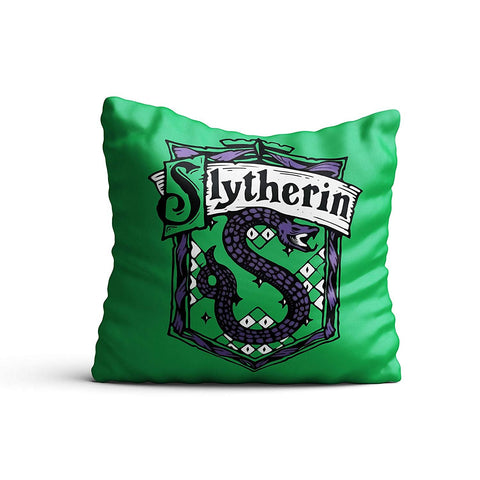 Harry Potter- Slytherin Satin Cushion Cover (12x12-inch, Multicolour)