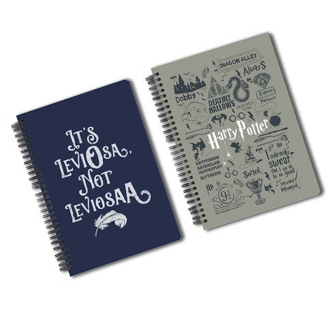 Harry Potter Pack Of 2 (Leviosa + Infographic Grey) A5 Notebook