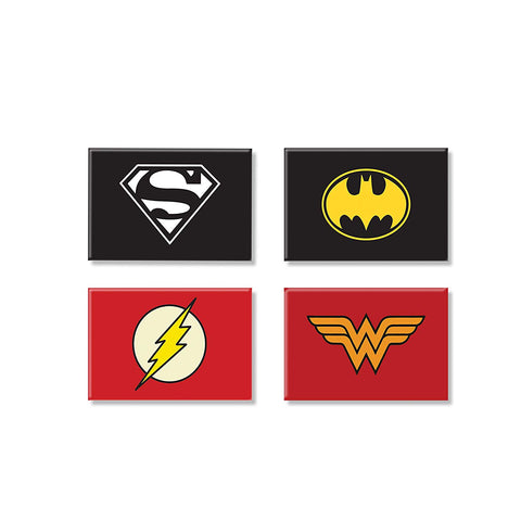 DC Comics Combo Pack of 4 Rectangular Fridge Magnet (Batman + Superman + Flash + Wonder Women)