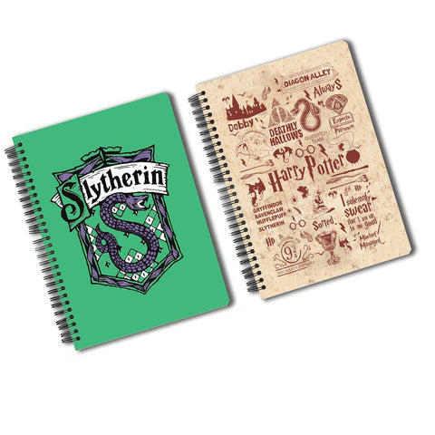 Harry Potter Pack of 2 (Infographic Red + Slytherin) A5 Notebook
