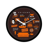 Friends Infographic Orange Wall Clock