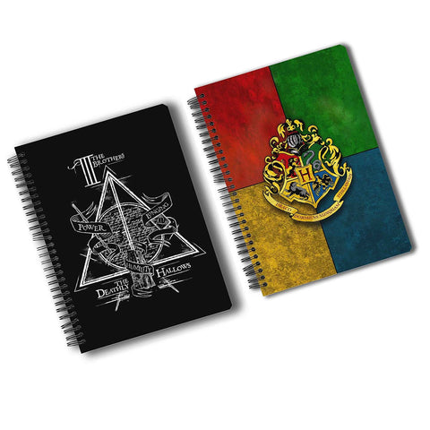 Harry Potter Pack Of 2 (Triangle + House Crest Multicolour) A5 Notebook