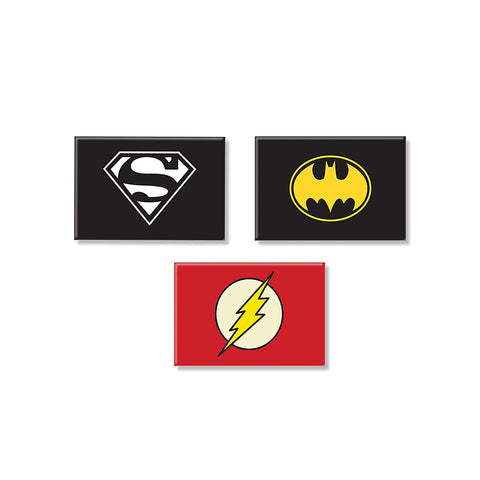 DC Comics Combo Pack of 3 Rectangular Fridge Magnet (Batman + Superman + Flash)