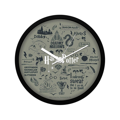 Harry Potter Grey Infographic Wall Clock