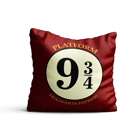 Harry Potter- Hogwarts 9 3/ 4  Satin Cushion Cover (12x12-inch, Multicolour)