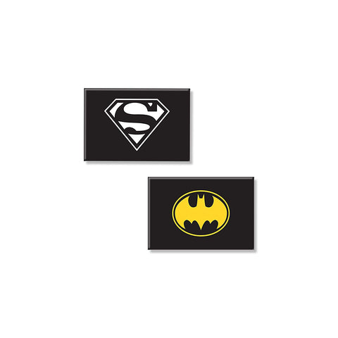 DC Comics Combo Pack of 2 Rectangular Fridge Magnet (Batman + Superman)