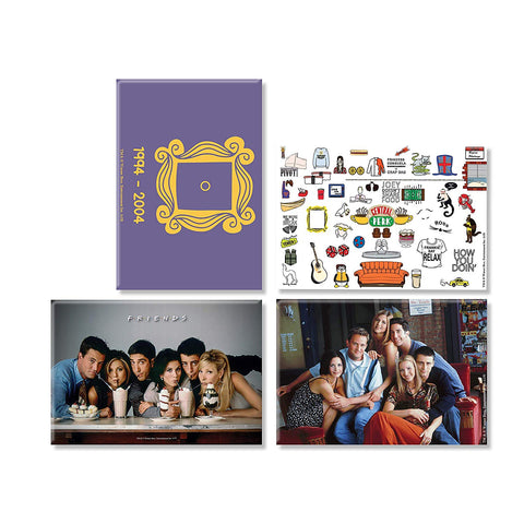 Friends TV Series Combo Pack of 4 Rectangular Fridge Magnet (Straw + Doodle + On The Couch+ Door)