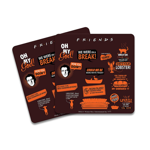 FRIENDS Infographic Orange Wooden Coaster - Pack of 2
