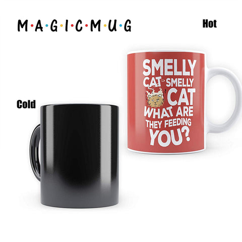 "Friends -Smelly Cat Morphing Magic Heat Sensitive Mugs "" Cool Coffee & Tea, Cup Drinkware Ceramic Mugs"