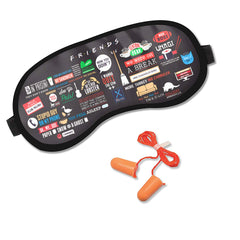 Friends TV Series Infographic Soft Sleep Eye Mask with Ear Plugs for Women and Men
